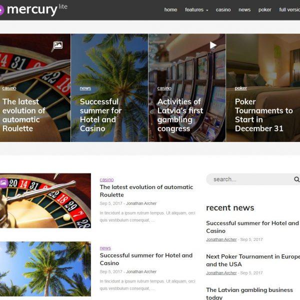 MercuryLite - бесплатная тема WordPress для казино